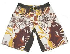 Reef Board Shorts Swim Trunks Brown/White/Yellow Floral Size 34