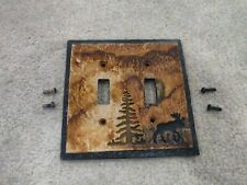 New ListingBig Sky Carvers Moose Lodge Cabin Rustic Double Electrical Light Cover Switch
