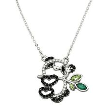 "Panda Bear Charm Pendant Fashionable Necklace - Sparkling Crystal - 17"" Chain"