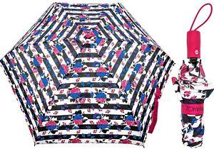 NWT Betsey Johnson Blue Flower Stripe Black/White/Pink/Blue Auto Travel Umbrella