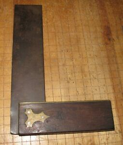 "VINTAGE UNMARKED 9"" WOOD BRASS STEEL SQUARE"