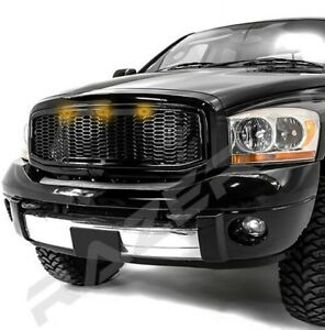 3x Amber LED Gloss Black Packaged Mesh Grille+Shell for 06-09 Dodge RAM