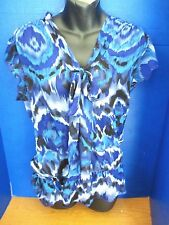 WRAPPER~Blue Black White FLOWING SHEER BLOUSE TOP~Women's Medium