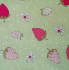 Michael Miller Strawberry Tea in Green Cotton Fabric 110cm wide Dressmaking