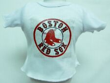 "Boston Red Sox Theme Silver Glitter Transfer T-Shirt For 16"" Or 18"" Dolls"
