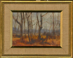 Sheila R. Michalski - Signed & Framed 1979 Oil, Silhouette of Trees