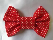 RED AND WHITE SPOTS 4 INCH HAIR BOW ALLIGATOR CLIP LADIES GIRLS NEW