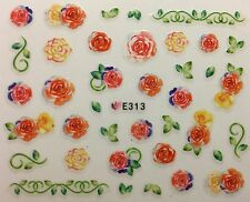 Nail Art 3D Decal Stickers Roses Yellow & Orange Roses E313
