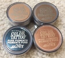 MAYBELLINE Color Tattoo 24 Hr Pigment Eye Shadow #30,35,45,60 SMOKEY LOT OF 4