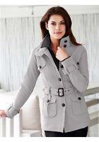 Exklusive Damen Sweatjacke Mantel von B.C Woman Gr. 40 grau mit Guertel