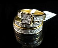 MENS WOMENS 14K YELLOW GOLD FINISH GENUINE DIAMOND WEDDING ENGAGEMENT TRIO RINGS