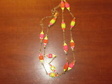 Ex KATE SPADE trendy NEON PINK ORANGE and YELLOW long gold tone chain