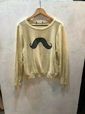 Wildfox Couture Women's Yellow Black & Gray Mustache L/S Pullover Sweater Sz S