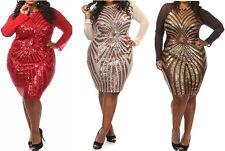 Plus Size Women Party Mesh Dress Geometric Sequine Long Sleeve Bodycon Dress