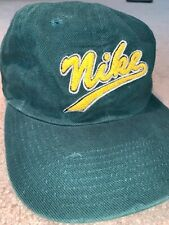 Nike Script Logo 6 Panel Running Mesh Lined  Hat Green Vintage White Tag Hat