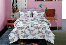 Pink Blue Green Grey Butterfly Geometric 5 Piece Comforter Bedding Set Twin Size