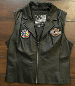 Women's Harley Davidson Patched leather vest Harleys Owners Group