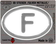 F France OVAL GEL DOME CAR STICKER Silver metallic Resin Decal 3d Domed Badge