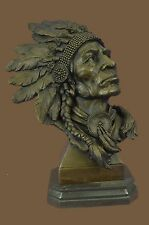 Native American Indian Chief in War Bonnett Bust Sculpture Statue Western Art