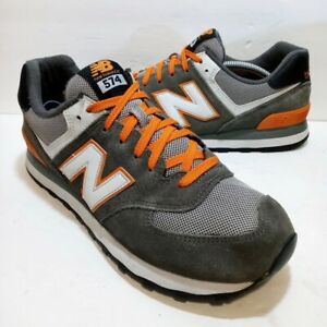 New Balance Gray Orange Suede Classic Athletic Running Shoes - Men's Size 9.5