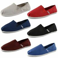 New Mens Canvas Plimsolls Slip On Espadrilles Trainers Gusset Shoes Size 6-11