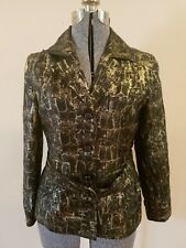 Chico's Size 1 Cropped Trench Style Jacket, Top, Black And Gold