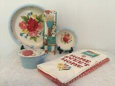 The Pioneer Women Set of 6 SWEET ROSE  Pie Pans Towel Set Casserole Dish Brush