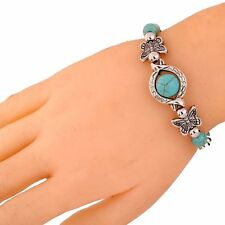 Xmas Jewelry Tibetan Silver Turquoise Bead Butterfly Adjustable Bracelet  Bangle