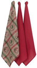 Farm Kitchen Towel 3pc Set | Cotton Flour Sack | Beige & Red | Pictorial