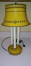 "Vintage Tole Bouillotte Lamp 3 Candlestick Lights Mustard Yellow Metal 16"" Tall"