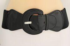 New Women Fashion Belt Hip High Waist Stretch Wide Black Buckle Plus Size M L XL