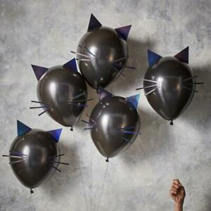 Black Cat Halloween Balloons - Halloween Party Decorations - Pack of 5