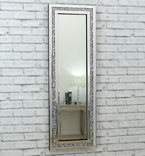 e564fd055e1a Gatsby Crystal Long Silver Glass Framed Full Length Bevelled Wall Mirror  48x16