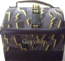 Pottery Barn Kids Retro Lunch Bag Lighting Bolts Gray PBT New Monogramed GRAYDON