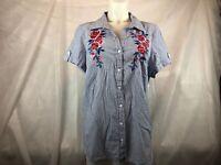 Karen Scott Button Down Shirt Blue Stripes w/Floral Embroidery Women's Plus 2X &