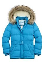 NWT Girls Size 5 Justice Blue Puffer Jacket Winter Removable faux fur Lined hood