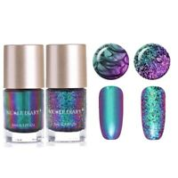 2Bottles 9ml Chameleon Nail Art Polish Glitter Iridescent Flakes Sequins Varnish