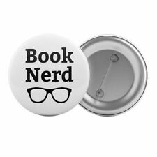 """Book Nerd - Badge Button Pin 1.25"""" 32mm Books Lover Reading Book Club"""