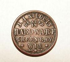 1863 Civil War Token Eagle /St. Louis Dealer In Hardware Green Bay F-2501-1A R8