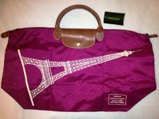 Authentic Longchamp Le Pliage Eiffel Tower Travel Tote Bag L Grenat Magenta Pink