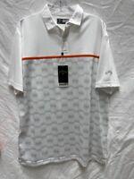 Callaway Opti Dri Mens Golf Polo Shirt White Abstract Short Sleeve Top M New