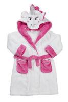 Girls Soft feel Animal Design White Unicorn Bath Robe Nightgown Size Age 2 3 4 5