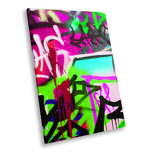 Green Pink Graffiti Portrait Abstract Canvas Wall Art Large Picture Prints