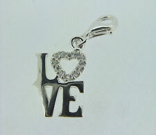 Sterling silver cubic zirconia love clip on charm
