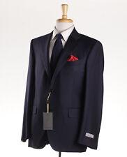 NWT $1895 CANALI 1934 Dark Midnight Navy Blue Twill Wool Suit 46 S Short
