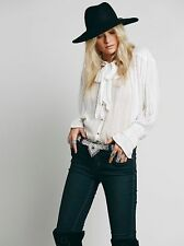 107589 New $138 Free People FP ONE Tie Front Blouse Sheer Shirt Tunic Top XS US
