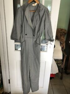 Vintage 1980s Jump Suit Long Sleeve Dog Tooth Check Wool Blend Med