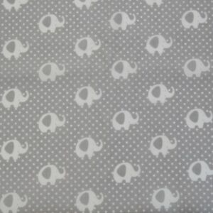 Lucky Elephants Grey White 100% cotton Fabric 160 cm wide sewing patchwork craft