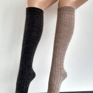 2 Pair Women's Soft Alpaca Knee Socks 100% Wool Extra Soft Braun 35 To 42