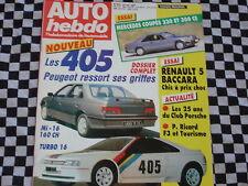 AUTO-HEBDO 1987 RENAULT 5 BACCARA / MERCEDES COUPE 300 & 230 CE / PEUGEOT 405